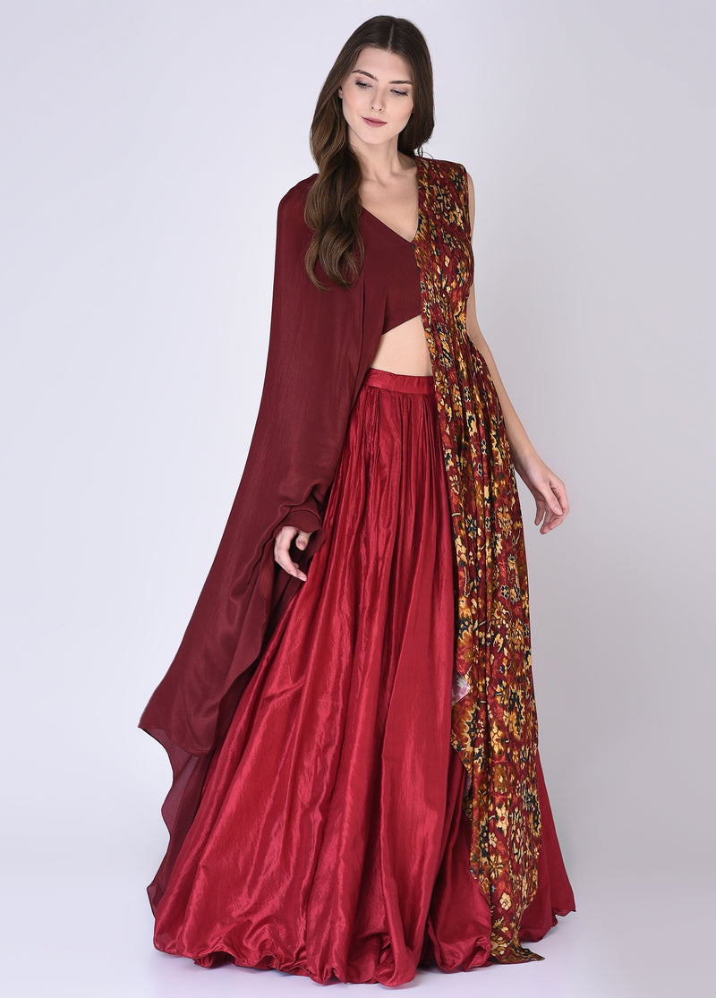 House Of Neha & Tarun - Red & Maroon Blouse With Skirt - INDIASPOPUP.COM