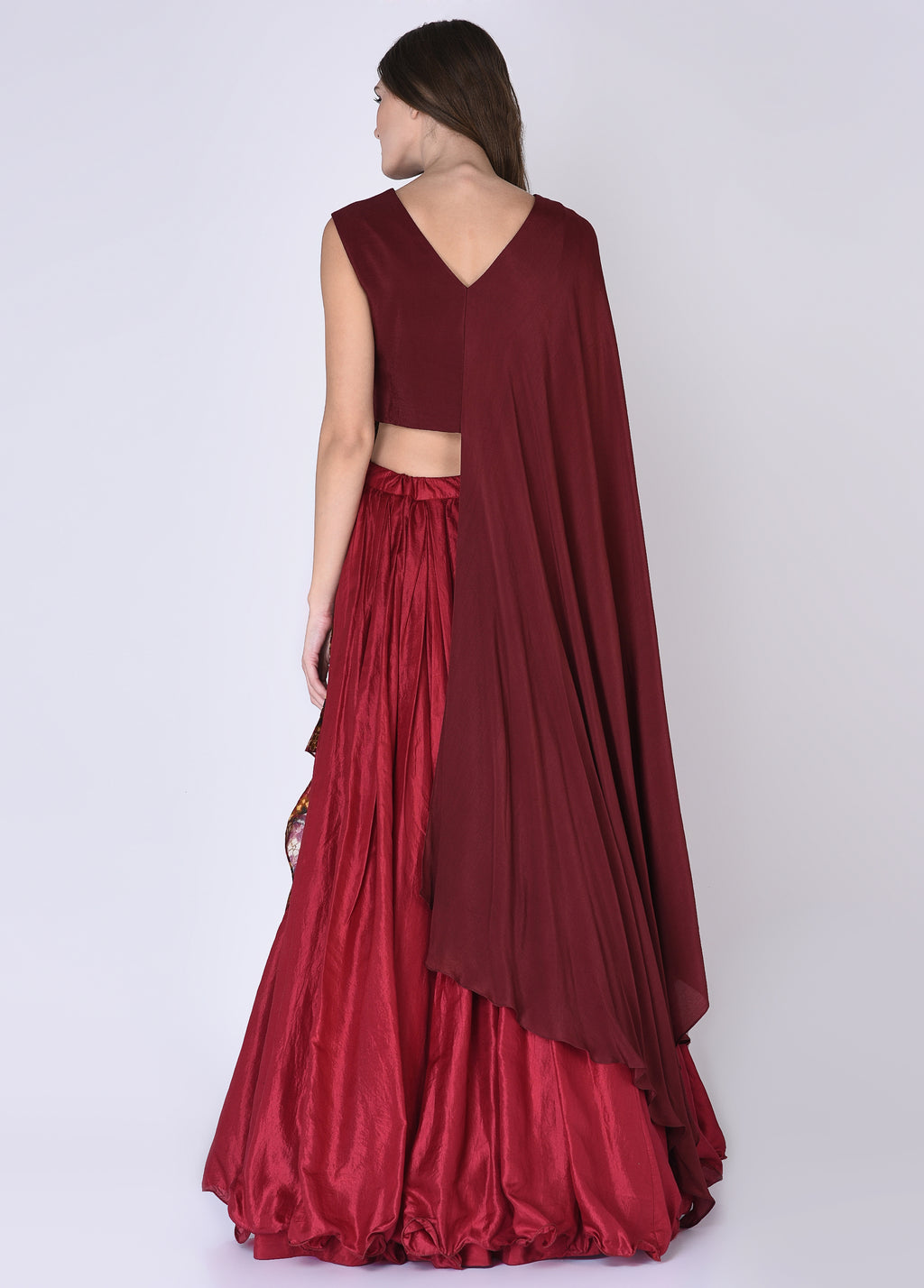 Red & Maroon Blouse With Skirt