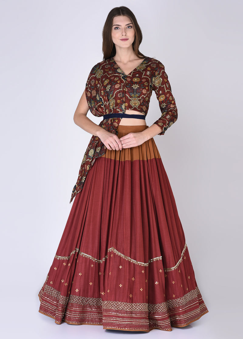 House Of Neha & Tarun - Maroon & Rust Blouse With Skirt - INDIASPOPUP.COM
