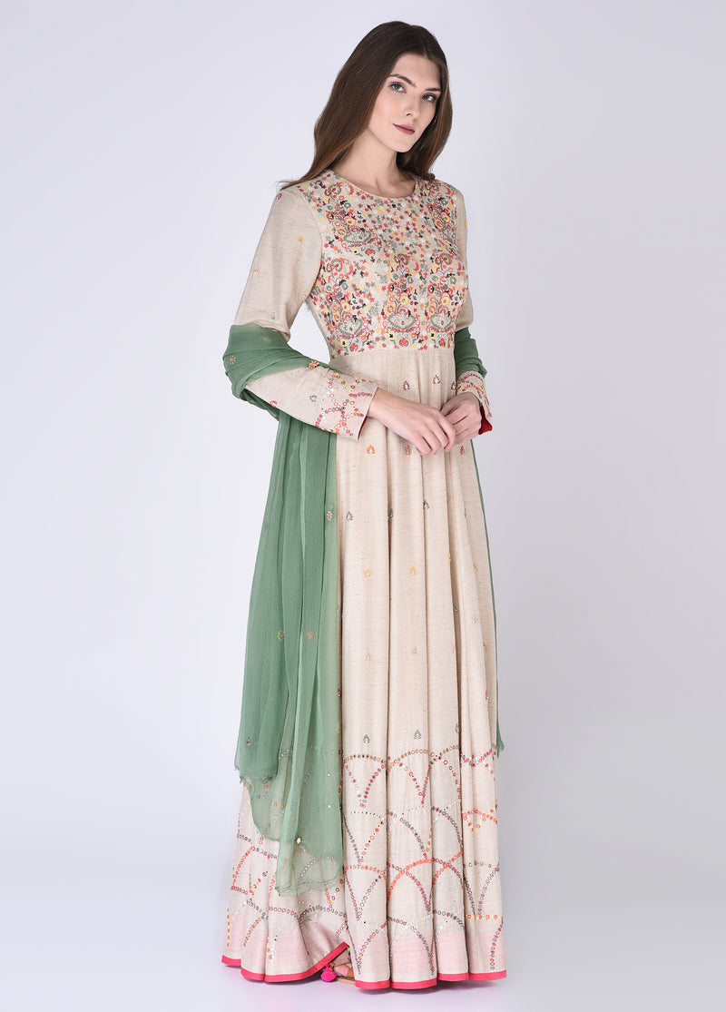 House Of Neha & Tarun - Beige & Green Floor Length Anarkali Set - INDIASPOPUP.COM