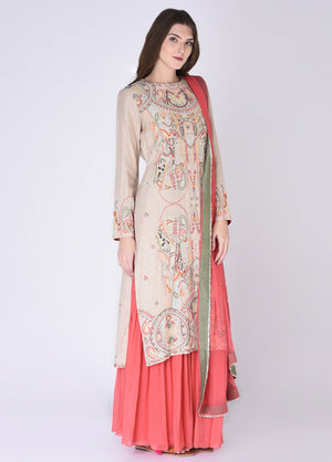 House Of Neha & Tarun - Beige & Peach Embroidered Sharara Set - INDIASPOPUP.COM