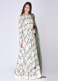 House Of Neha & Tarun - Ivory & Green Floor Length Anarkali Set - INDIASPOPUP.COM