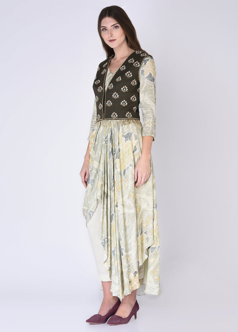 House Of Neha & Tarun - Olive Green Kurta & Pants With Jacket - INDIASPOPUP.COM