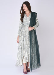 House Of Neha & Tarun - Soft Green Kurta & Pants With Dupatta - INDIASPOPUP.COM