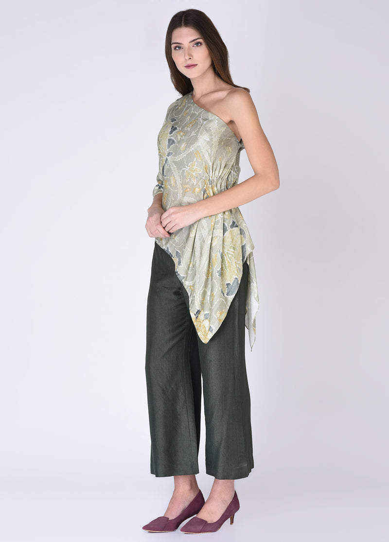 House Of Neha & Tarun - Soft Green Top With Olive Green Pants - INDIASPOPUP.COM
