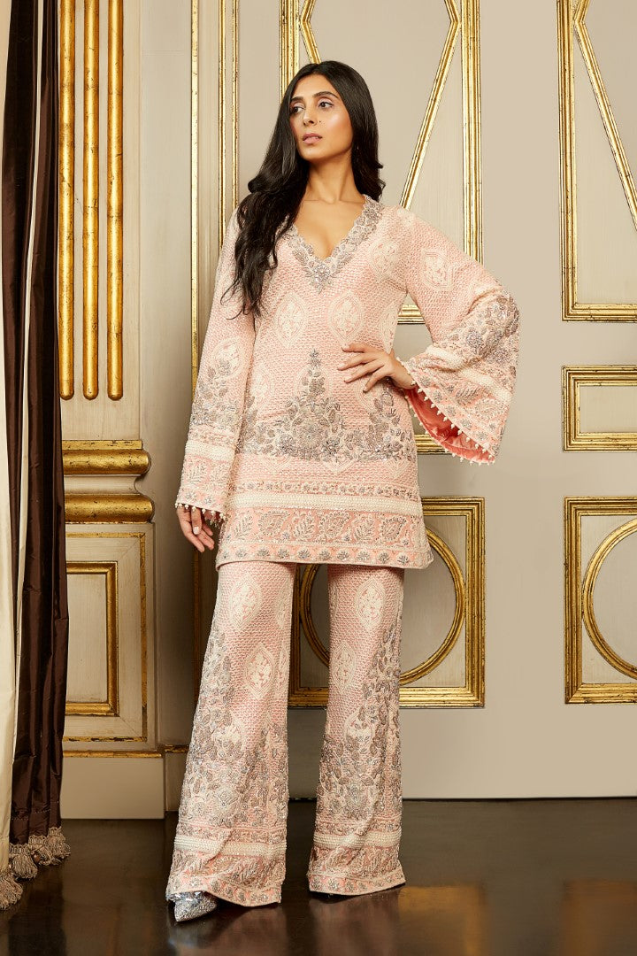 UMRAO COUTURE BLUSH PINK HAND EMBROIDERED KURTA PANTS SET