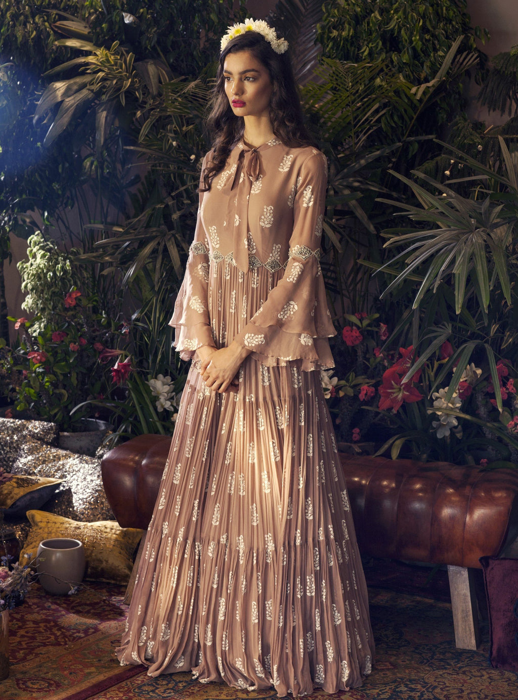 BHUMIKA SHARMA BEIGE EMBROIDERED ANARKALI RUFFLE GOWN