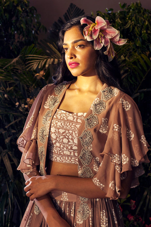 Bhumika Sharma - Beige Embroidered Cape & Skirt Set - INDIASPOPUP.COM