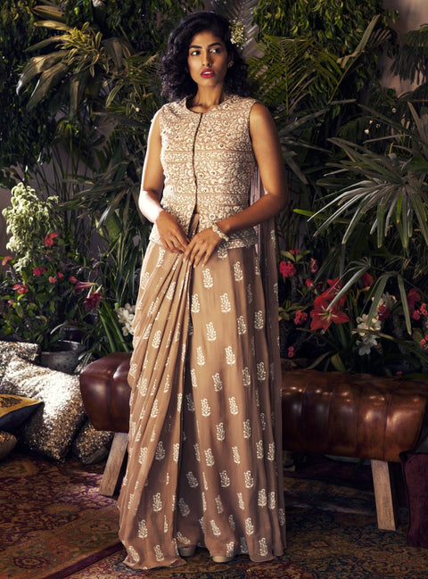 Bhumika Sharma - Beige Jacket Blouse And Saree Set - INDIASPOPUP.COM