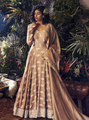 Bhumika Sharma - Beige Embroidered Anarkali Set - INDIASPOPUP.COM