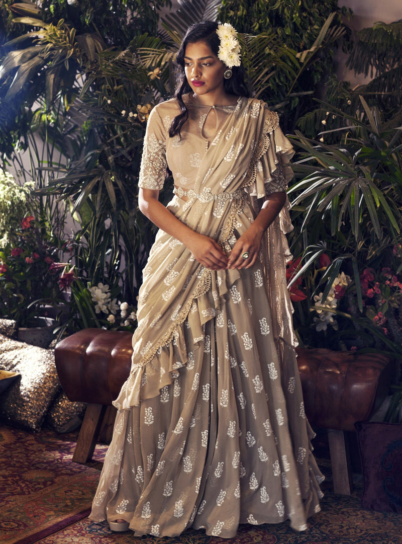Bhumika Sharma - Light Beige Embroidered Saree Set - INDIASPOPUP.COM