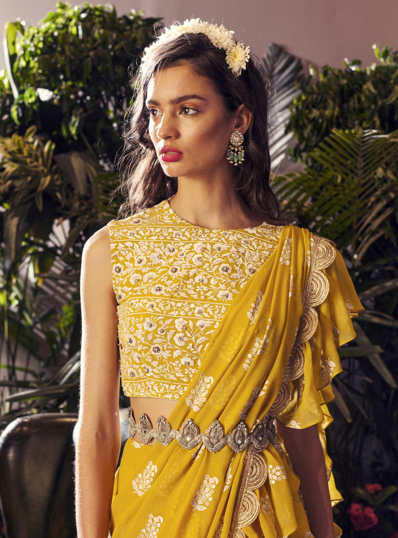 Bhumika Sharma - Yellow Layered Ruffle Saree - INDIASPOPUP.COM