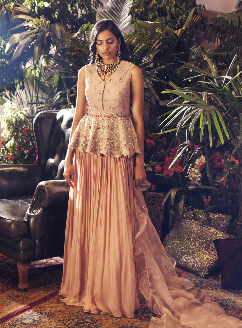 Bhumika Sharma - Nude Peplum Top & Pleated Skirt - INDIASPOPUP.COM