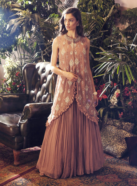 Bhumika Sharma - Nude Frill Cape And Skirt - INDIASPOPUP.COM
