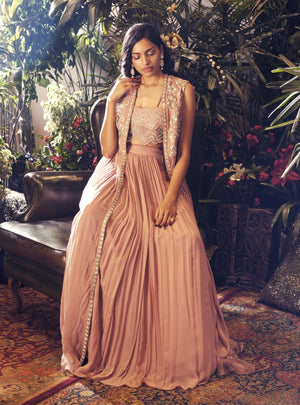 Bhumika Sharma - Pink Cape With Bustier & Skirt - INDIASPOPUP.COM