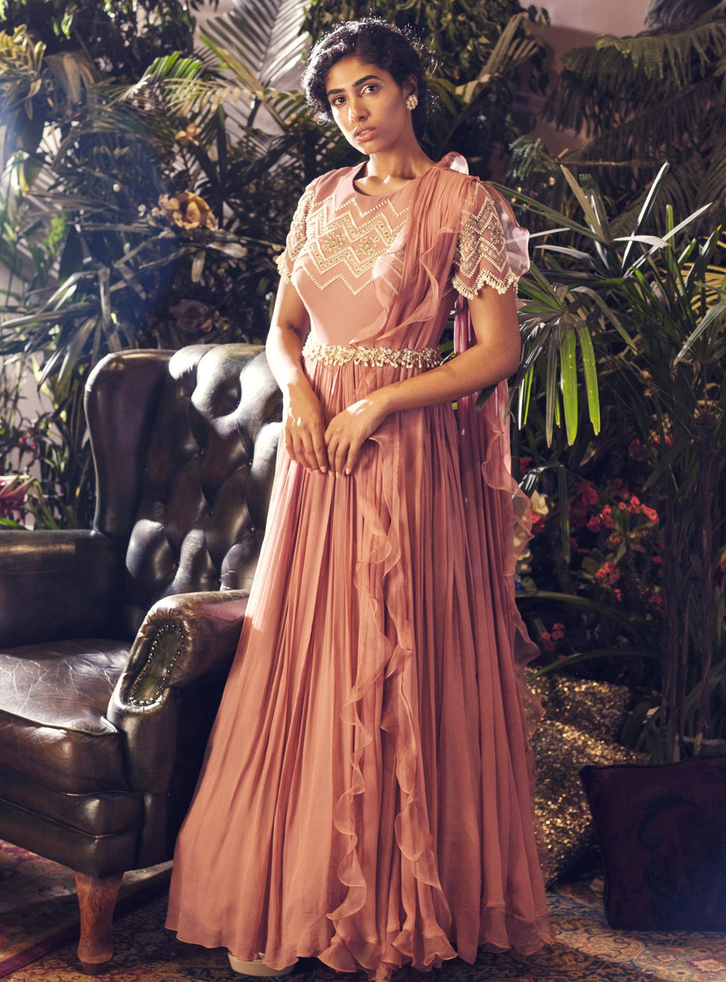 BHUMIKA SHARMA PINK PEARL ANARKALI GOWN SET