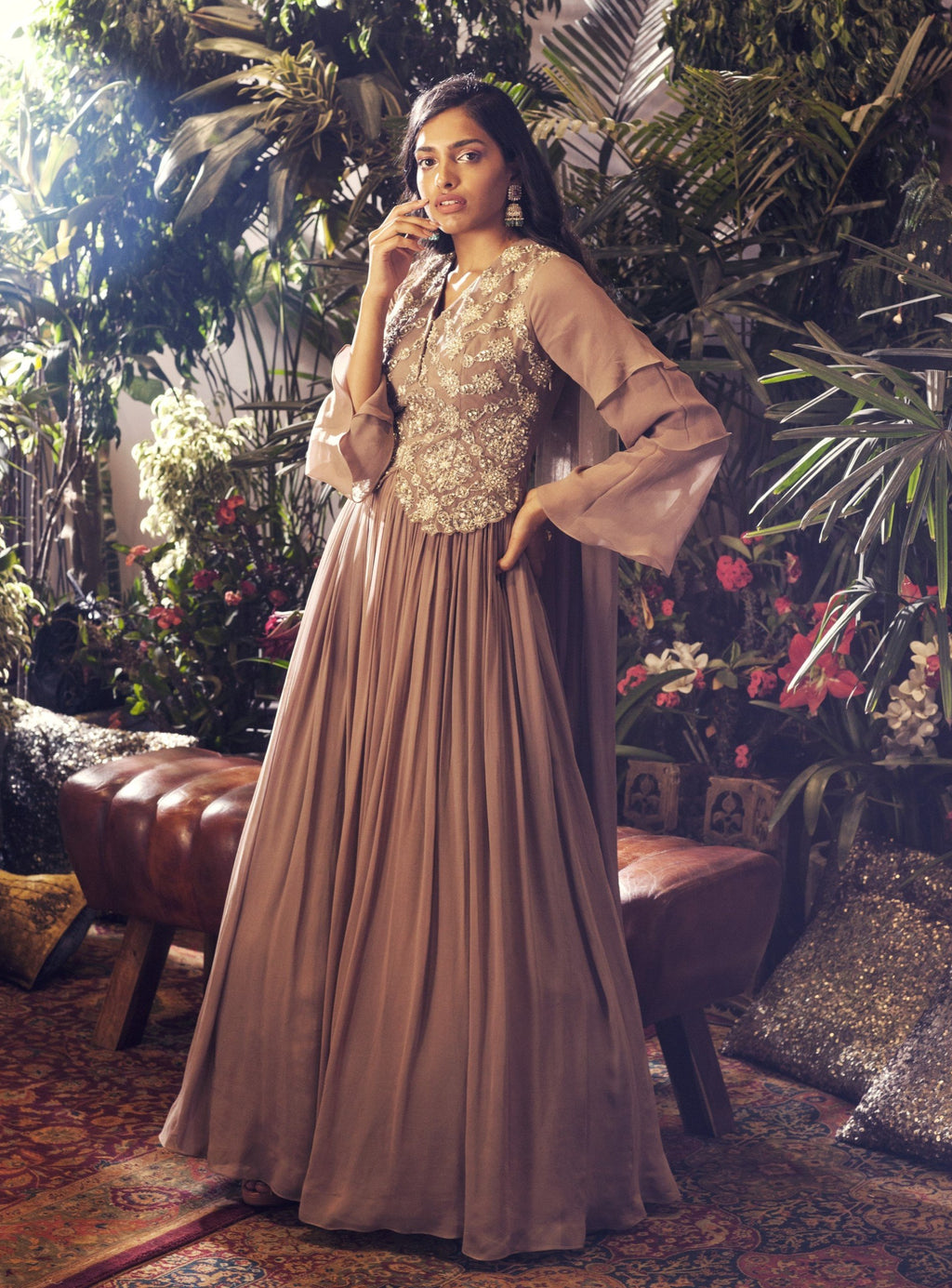 BHUMIKA SHARMA GREY JACKET STYLE ANARKALI GOWN