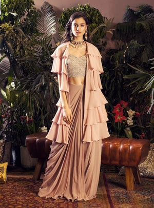 Bhumika Sharma - Nude Blouse With Draped Saree - INDIASPOPUP.COM