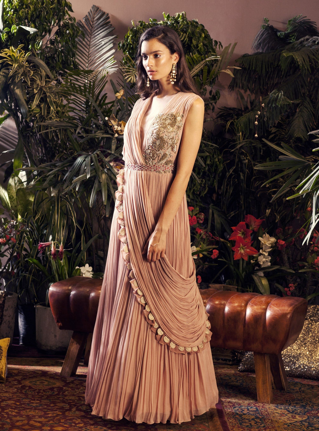 BHUMIKA SHARMA PINK BIRD BOOTA GOWN