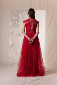 Vivek Patel-Red Symmetrical Twig Embroidered Gown-INDIASPOPUP.COM