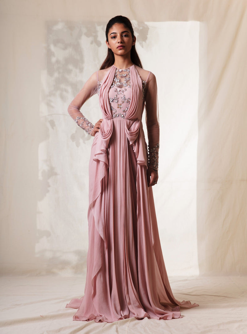 Vivek Patel-Pearl Pink Abstract Blot Grecian Gown-INDIASPOPUP.COM