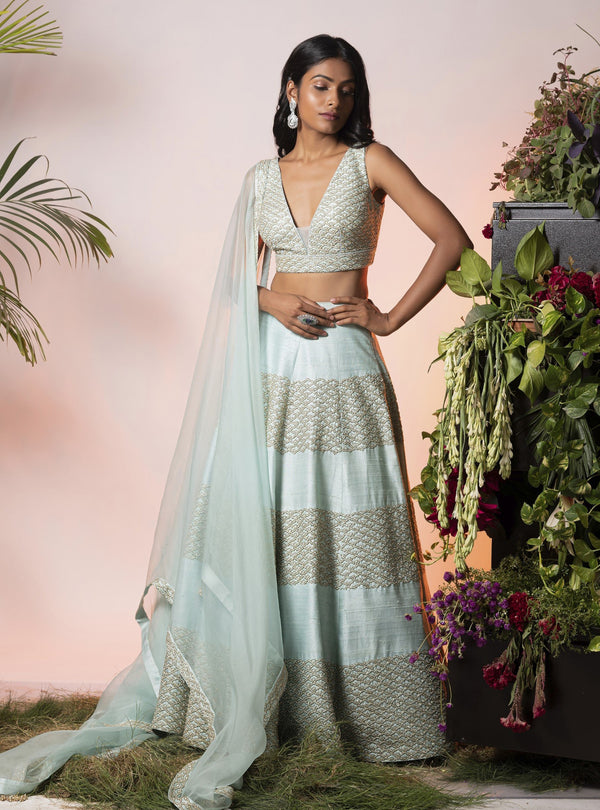 Vidushi Gupta - Blue & Gold Embroidered Lehenga Set - INDIASPOPUP.COM
