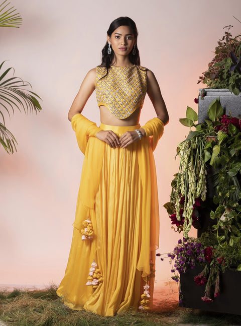 Vidushi Gupta - Yellow Embroidered Lehenga Set - INDIASPOPUP.COM