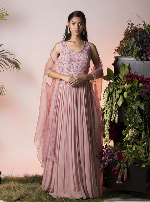Vidushi Gupta - Lilac Embroidered Anarkali Set - INDIASPOPUP.COM