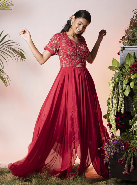 Vidushi Gupta - Red Embroidered Anarkali Set - INDIASPOPUP.COM