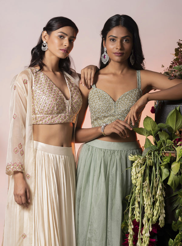 Vidushi Gupta - Grey Embroidered Lehenga Set - INDIASPOPUP.COM