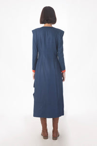 Saksham & Neharicka - Blue Panneled Coat Dress - INDIASPOPUP.COM