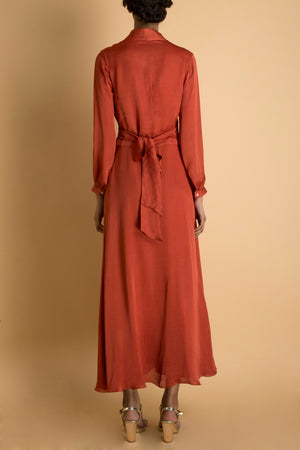 SAKSHAM & NEHARICKA RUST WRAP LONG DRESS