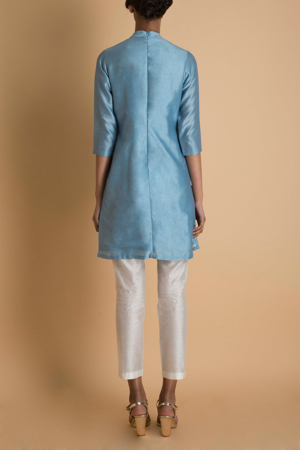 Ice Blue Embroidered Short Tunic