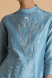 Saksham & Neharicka - Ice Blue Embroidered Short Tunic - INDIASPOPUP.COM