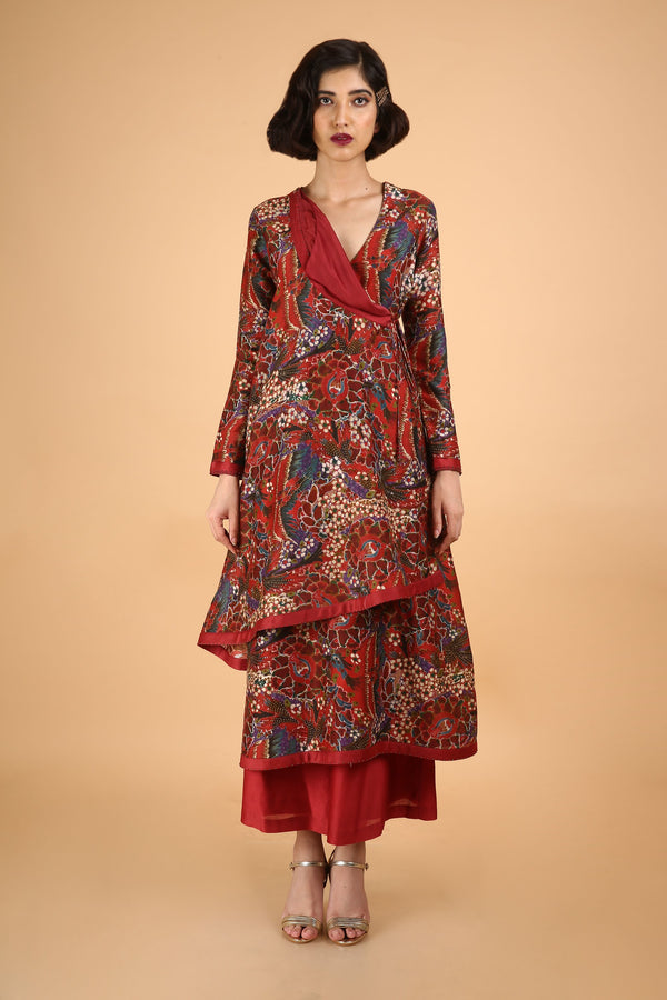 Red Angrakha Kurta Set