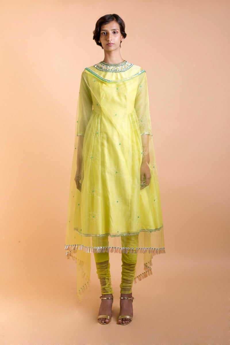 Saksham & Neharicka - Lemon Yellow Embroidered Kurta Set - INDIASPOPUP.COM