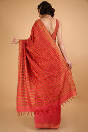Rosy Red Handwoven Silk Saree