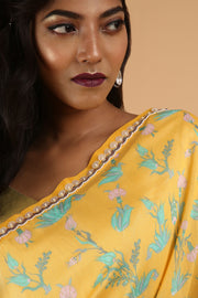 Yellow Cotton Silk Printed Saree