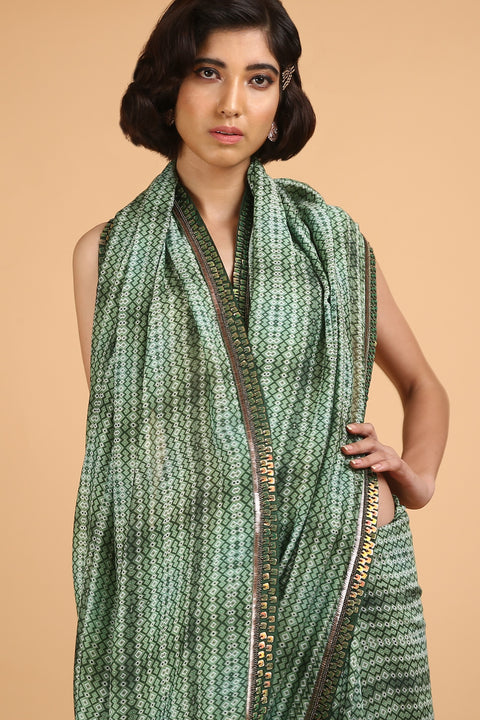 Green Cotton Silk Printed Saree
