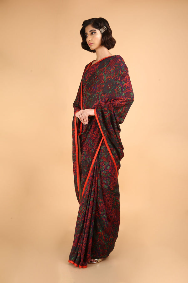 Red floral Cotton Silk Printed Saree