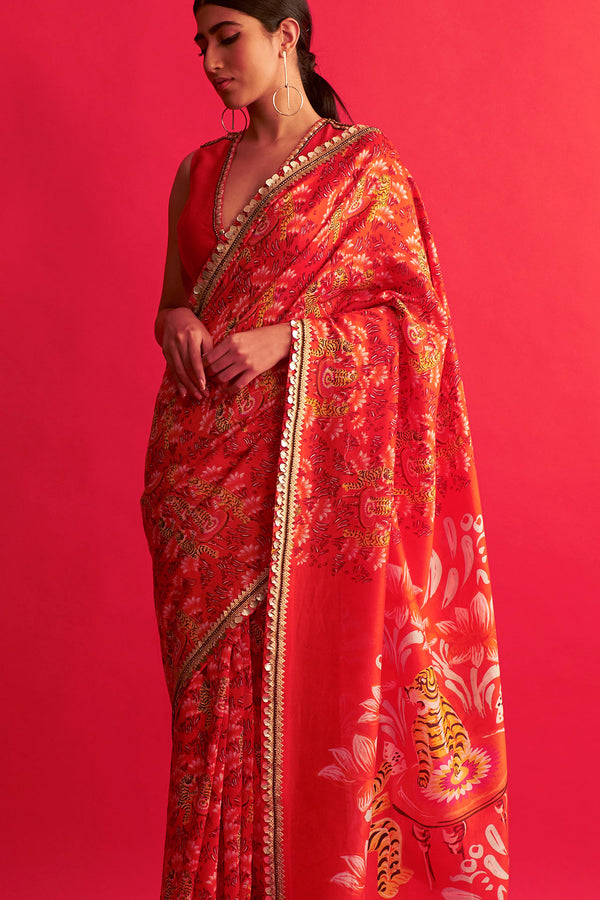 Saksham & Neharicka-Red Saree With Blouse-INDIASPOPUP.COM