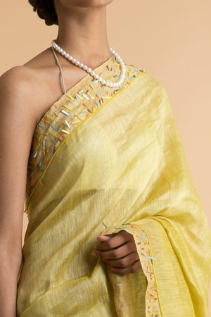 Saksham & Neharicka - Yellow Embroidered Linen Silk Saree - INDIASPOPUP.COM