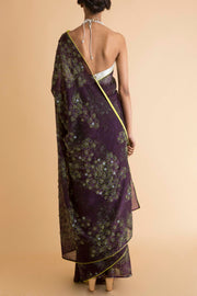 Saksham & Neharicka - Purple Printed & Embroidered Saree - INDIASPOPUP.COM