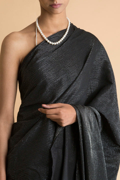 Saksham & Neharicka - Black Signature Metallic Stripe Part Printed  Saree - INDIASPOPUP.COM