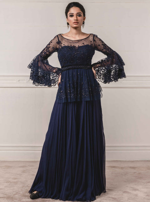 Tarun Tahiliani-Navy Anarkali Paired With Churidar-INDIASPOPUP.COM