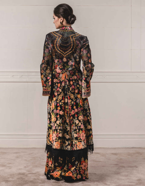 Tarun Tahiliani-Black Jacket Paired With Jumpsuit-INDIASPOPUP.COM