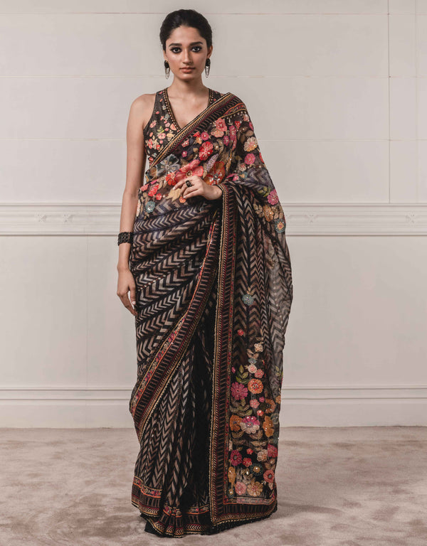 Tarun Tahiliani-Black Saree With Blouse-INDIASPOPUP.COM