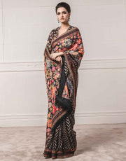 Tarun Tahiliani-Black Embroidered Saree & Blouse-INDIASPOPUP.COM