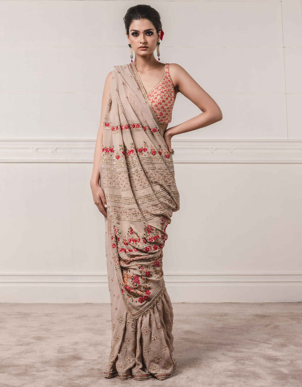 Tarun Tahiliani-Grey Georgette Saree With Blouse-INDIASPOPUP.COM
