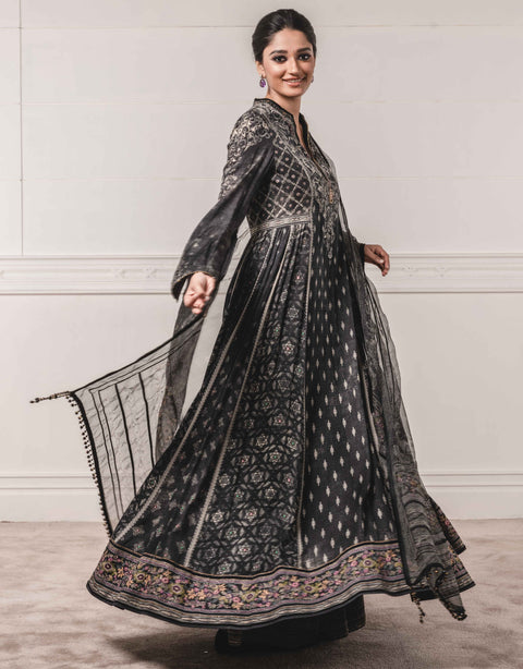 Tarun Tahiliani-Black Anarkali With Dupatta & Churidar-INDIASPOPUP.COM